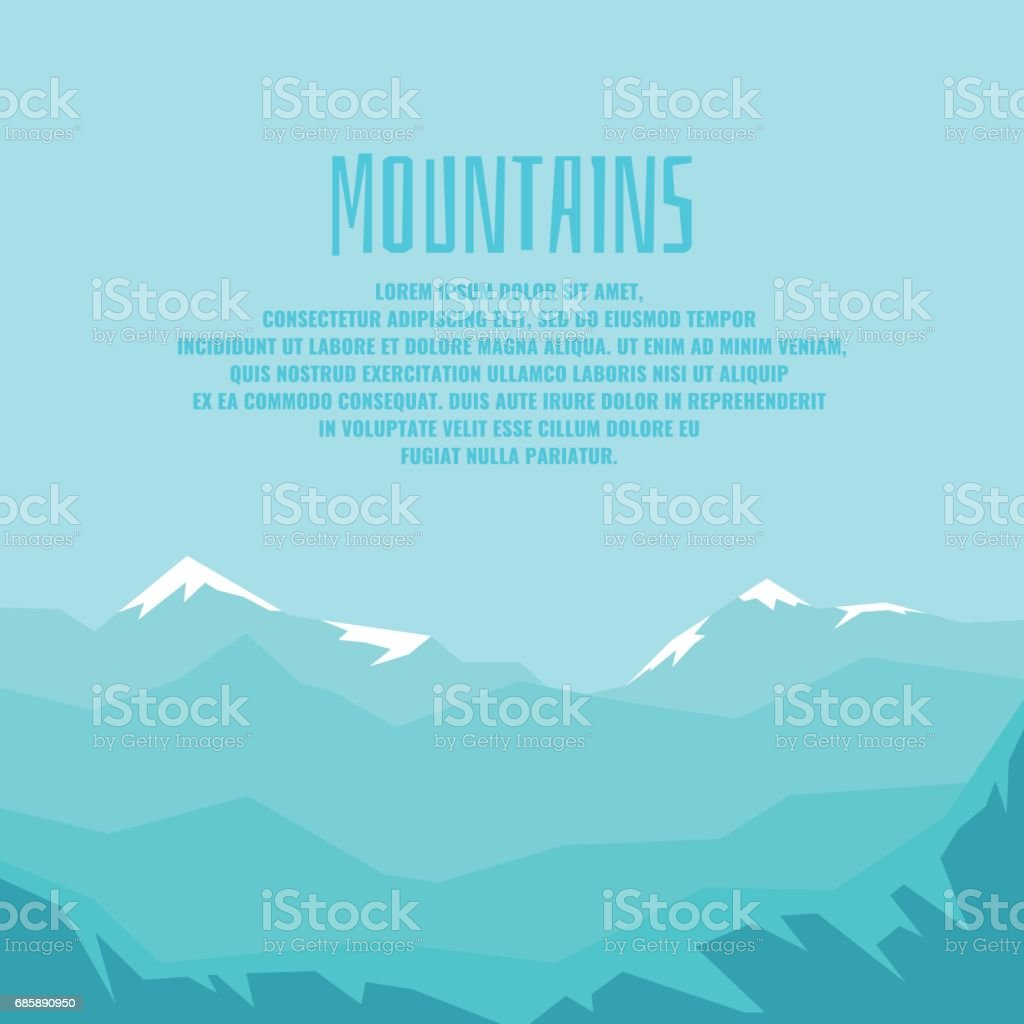 Modern poster with mountain winter landscape and sample text for your design vector art illustration