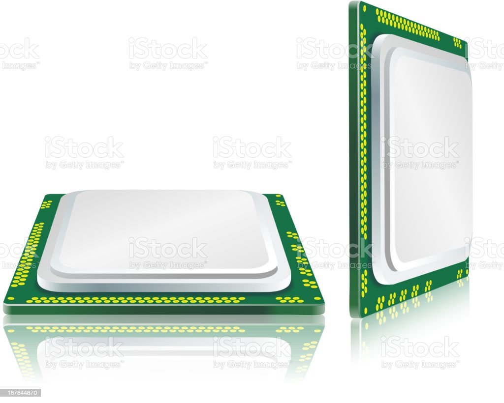 Modern processor with reflection. royalty-free stock vector art