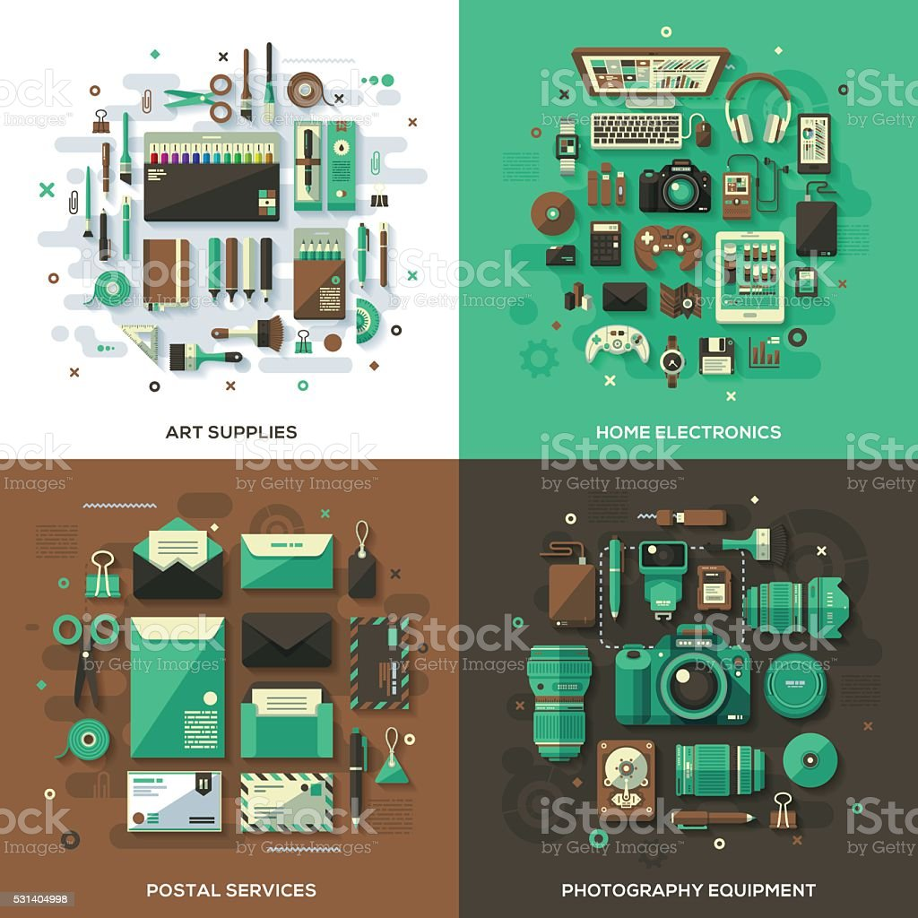 Modern Products & Services Concepts vector art illustration