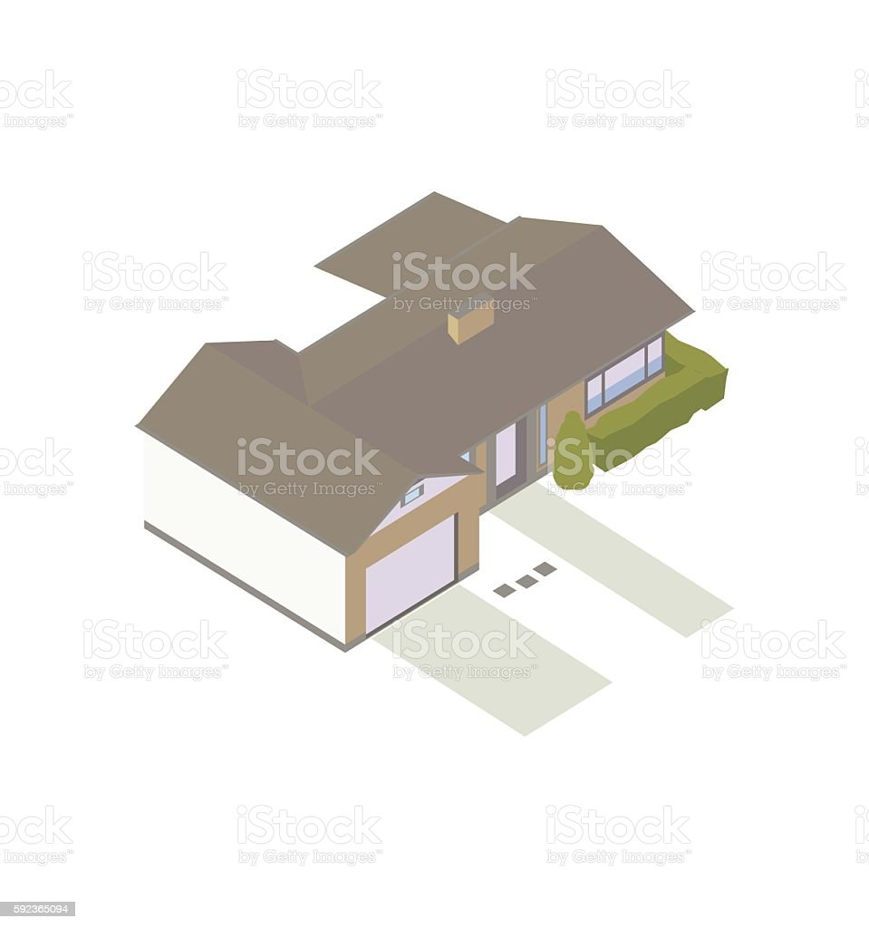 Modern ranch house illustration vector art illustration