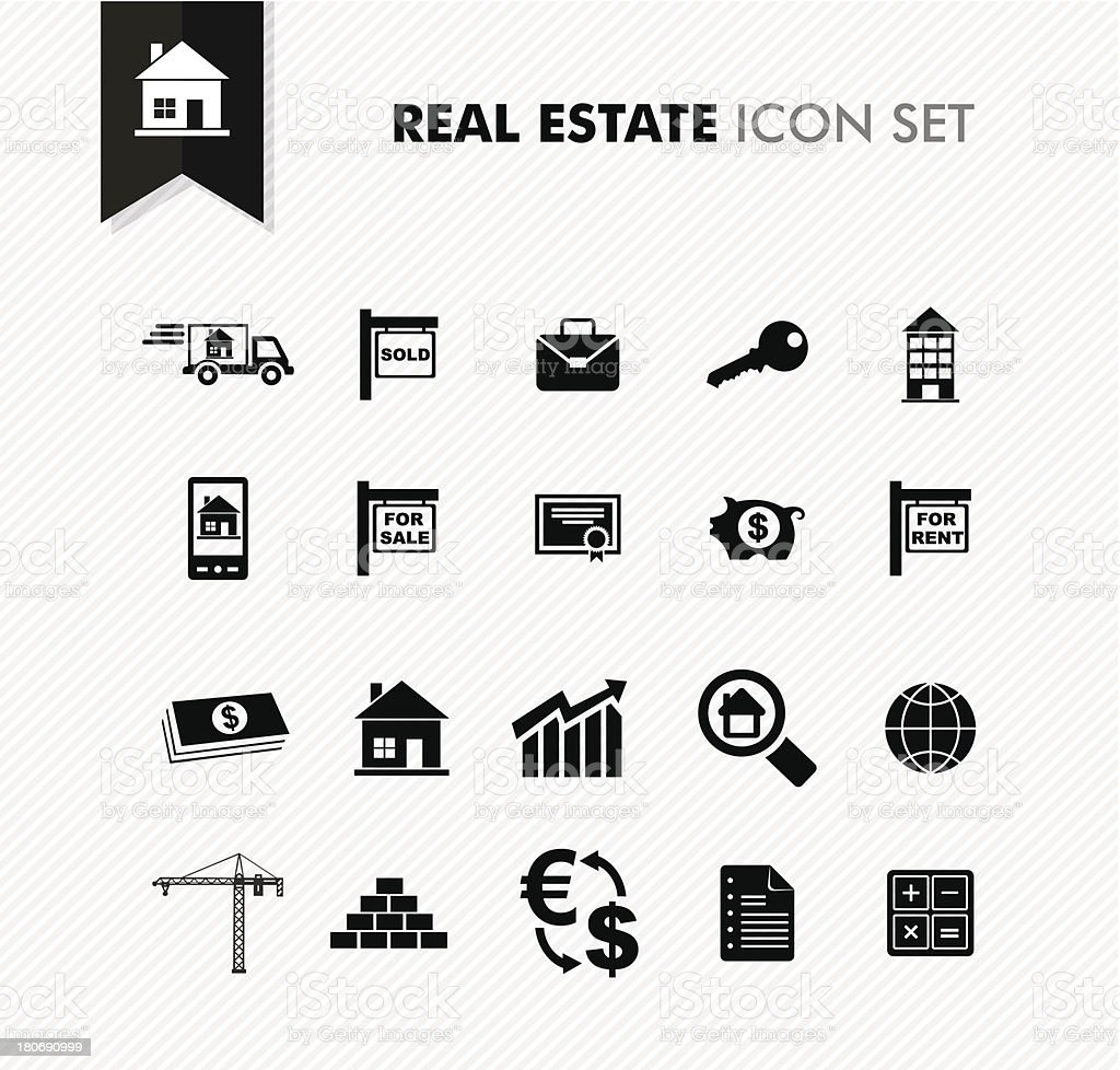 Modern Real Estate rental, sell and purchase icon set. vector art illustration