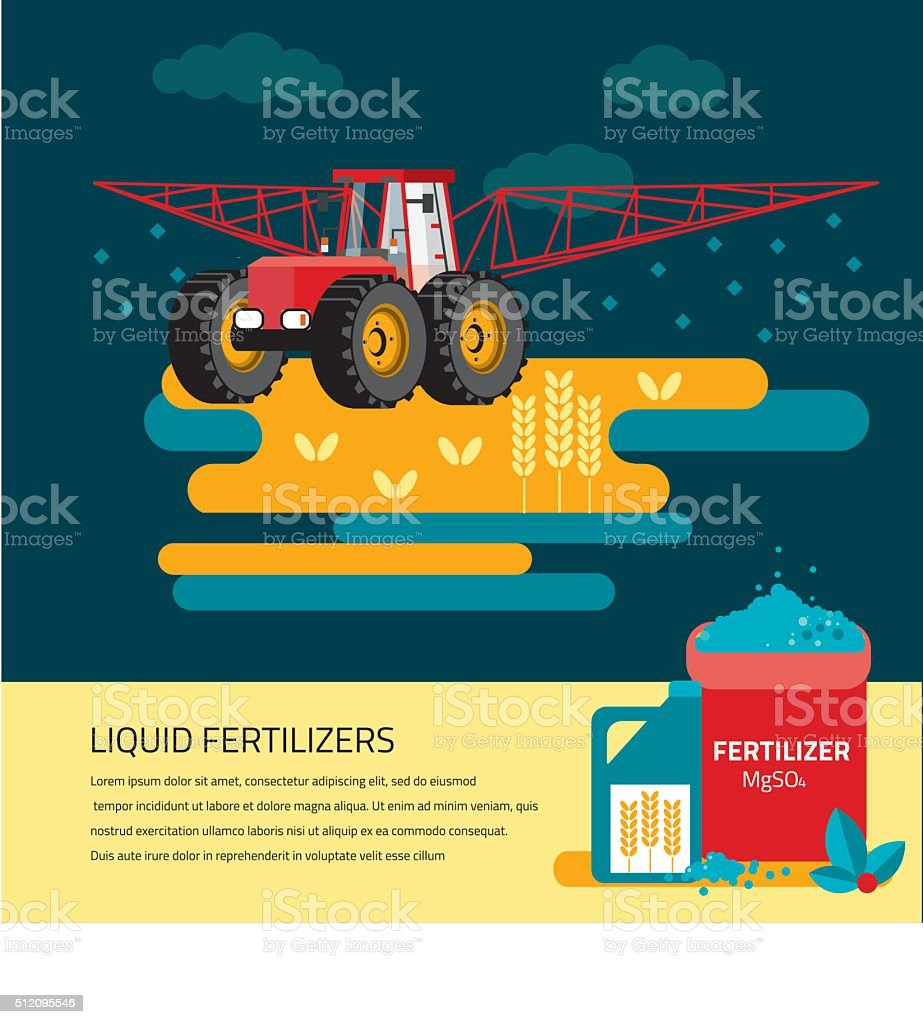 modern red tractor in the agricultural field; vector art illustration
