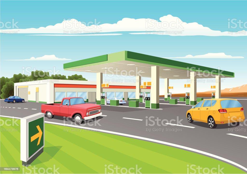 Modern Refueling Station vector art illustration