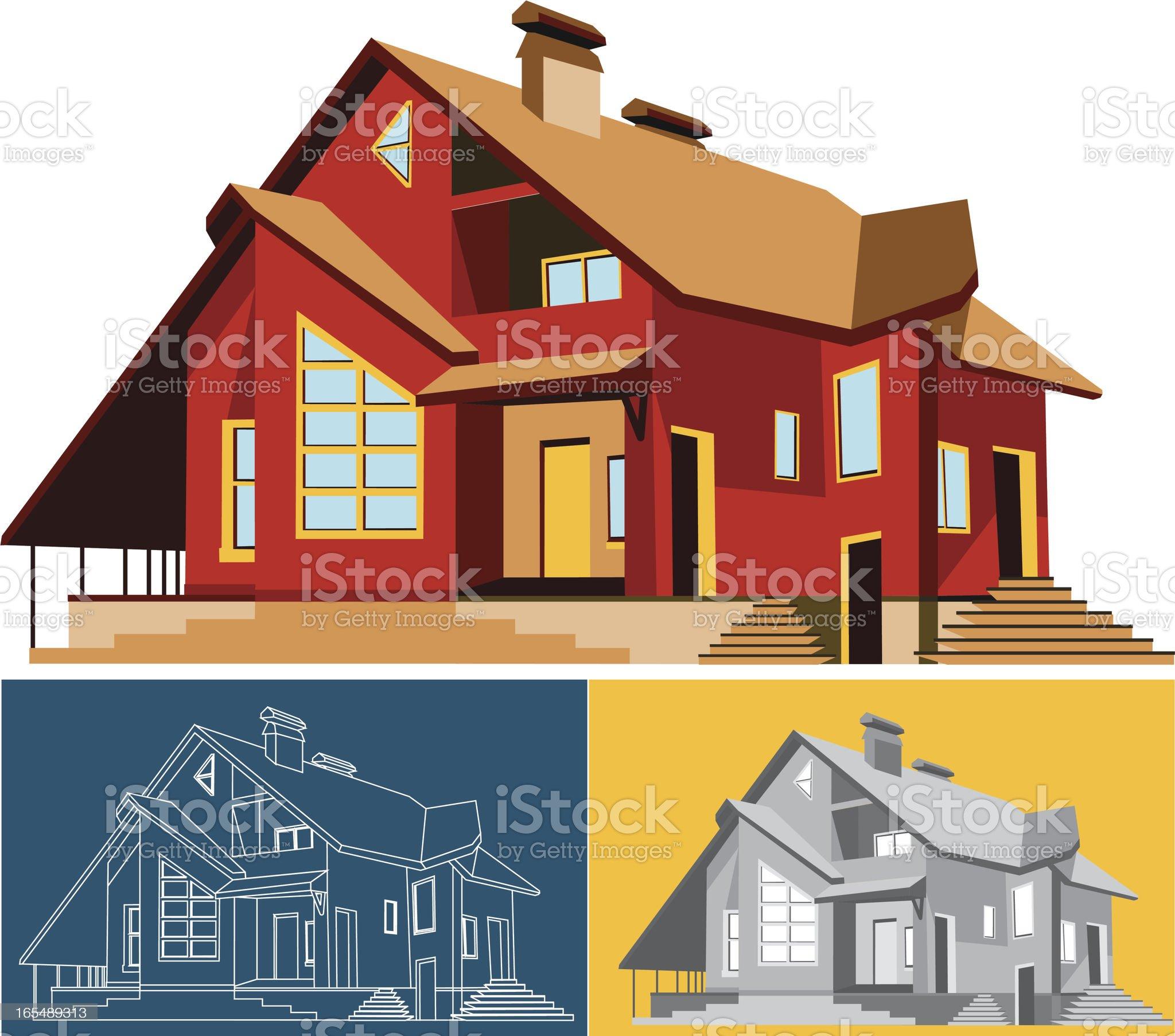 Modern Residential House royalty-free stock vector art