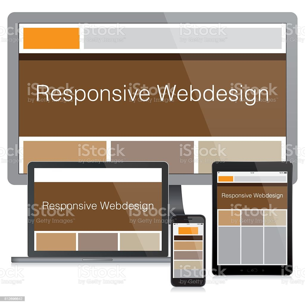 Modern responsive web design concept vector art illustration