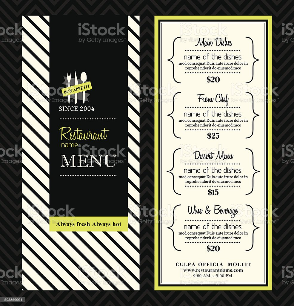 Modern Restaurant Menu Design Template Layout vector art illustration