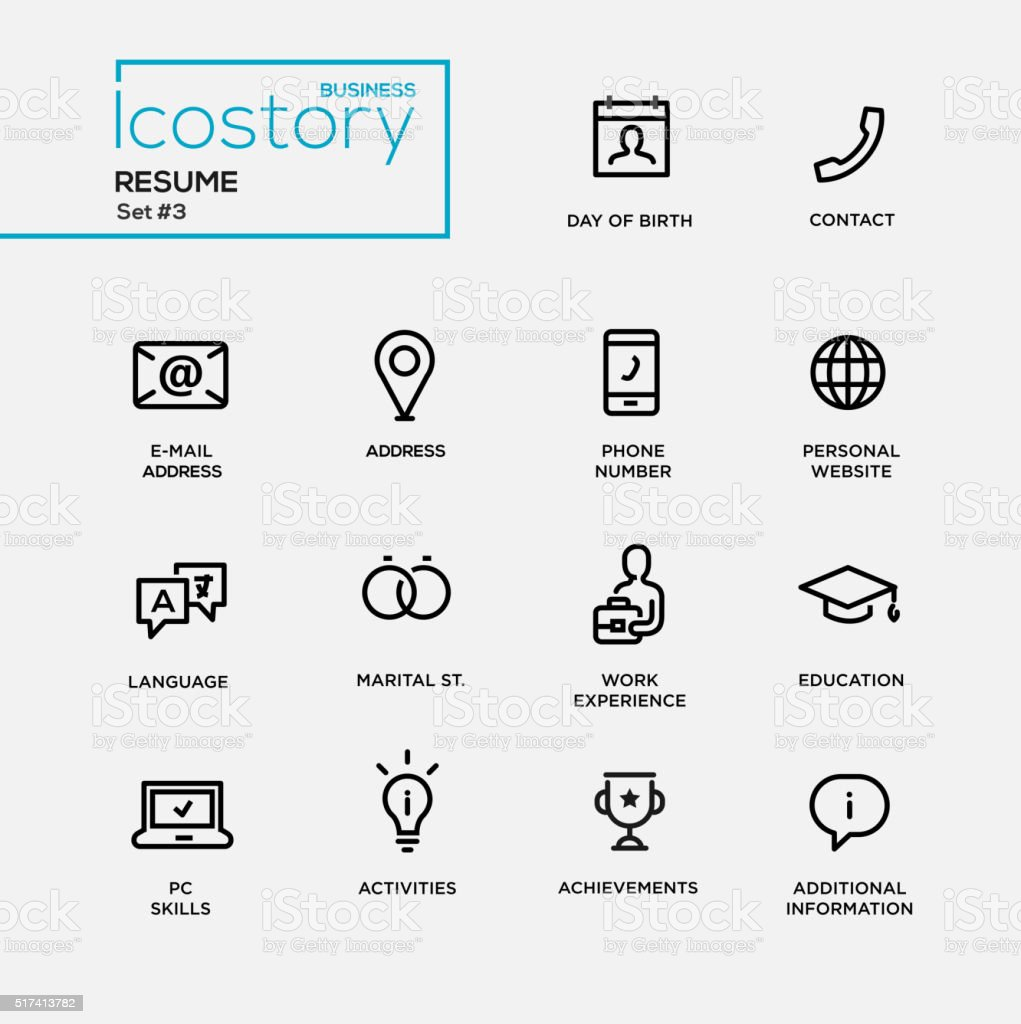 Modern resume simple thin line design icons, pictograms set vector art illustration