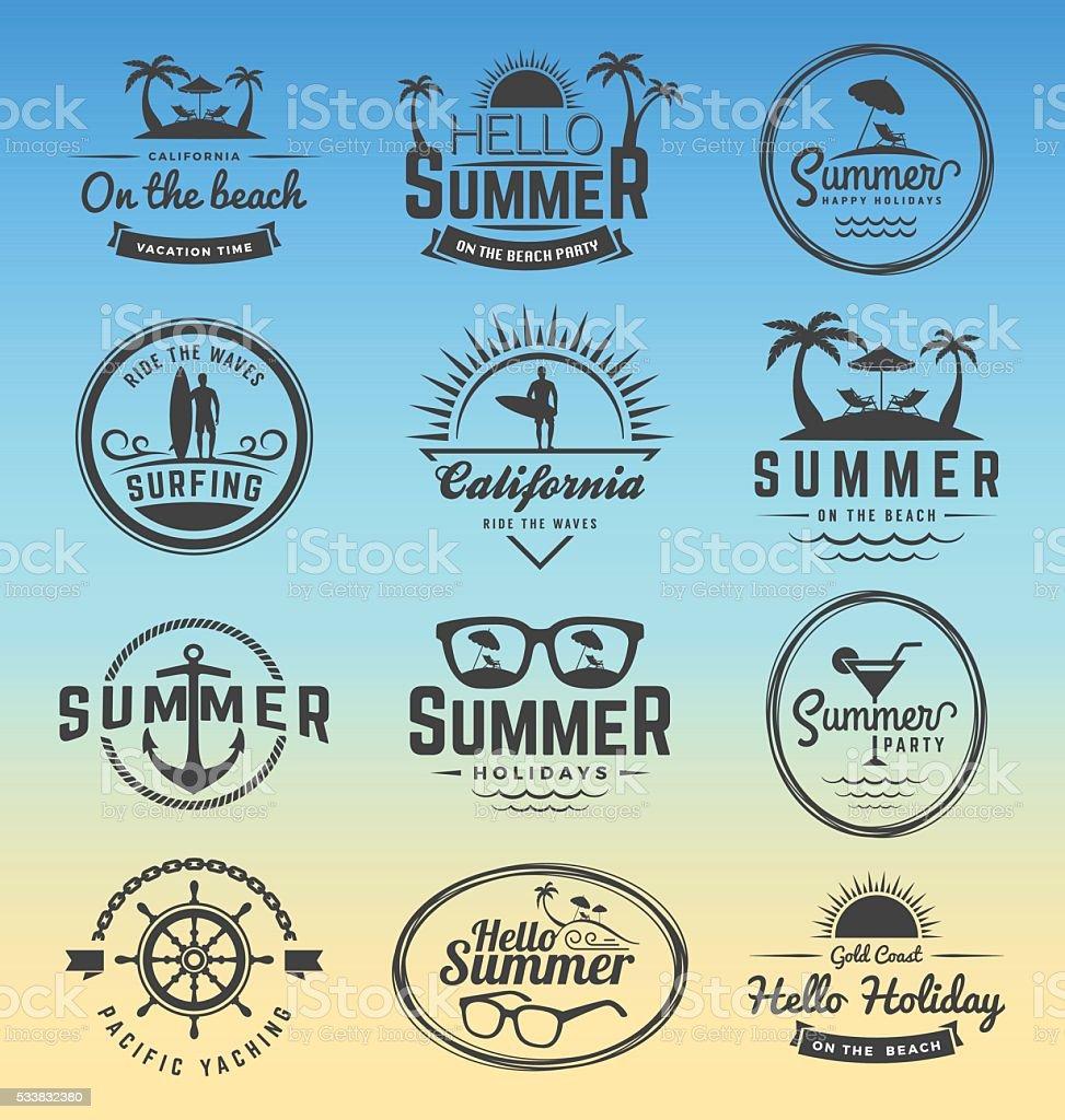 Modern retro insignia for summer holidays vector art illustration