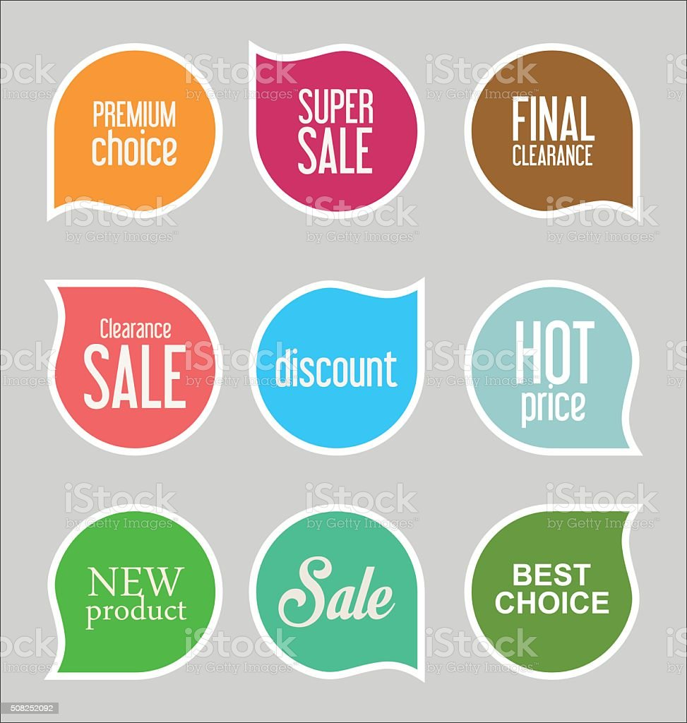 Modern sale stickers collection vector art illustration