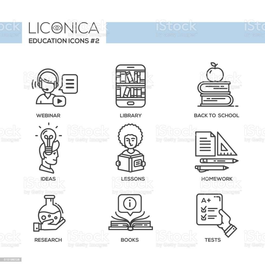 Modern school and education simple thin line design icons, pictograms vector art illustration