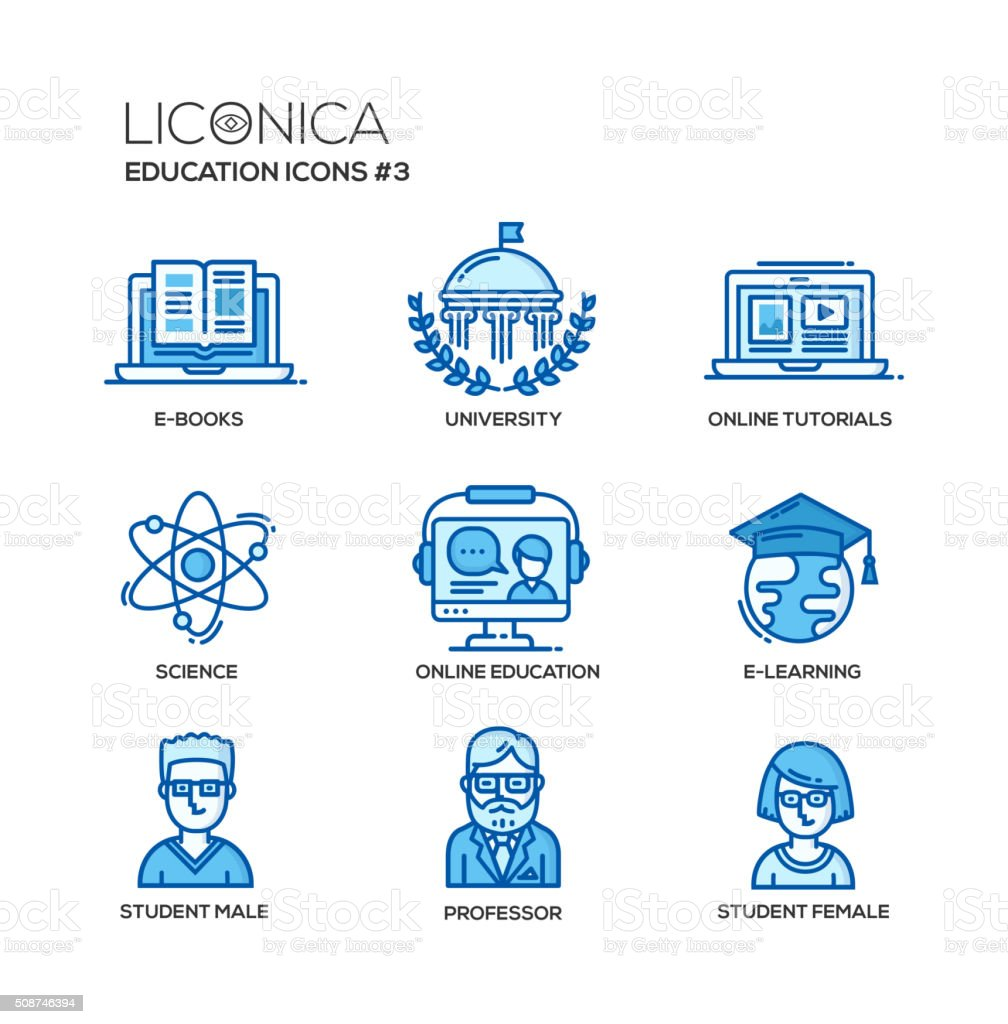 Modern school and education thin line design icons, pictograms vector art illustration