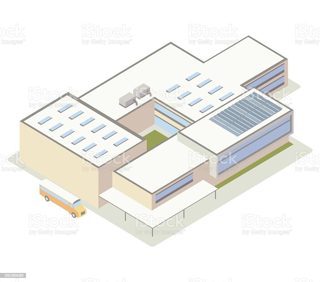 Modern school building illustration vector art illustration