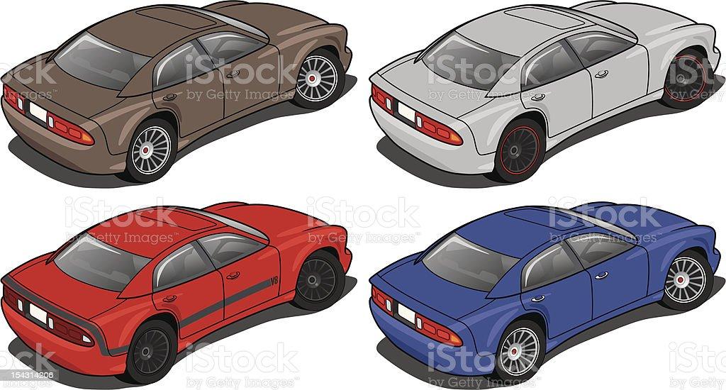 Modern Sedan Rear royalty-free stock vector art