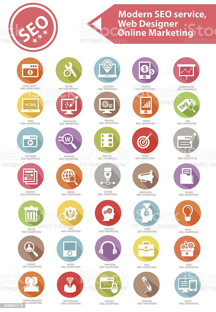 Modern SEO Service,Web designer and Online marketing icon set vector art illustration