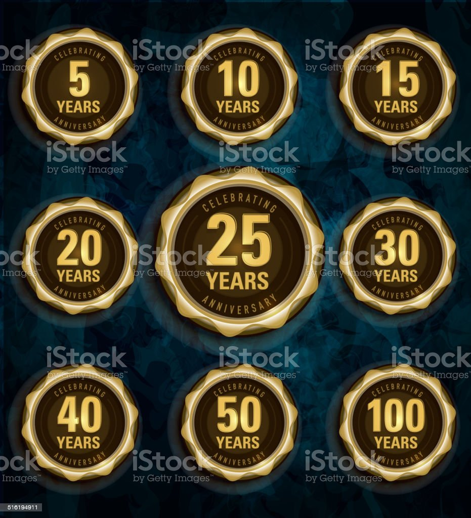 Modern set of golden metallic anniversary celebration laurels vector art illustration
