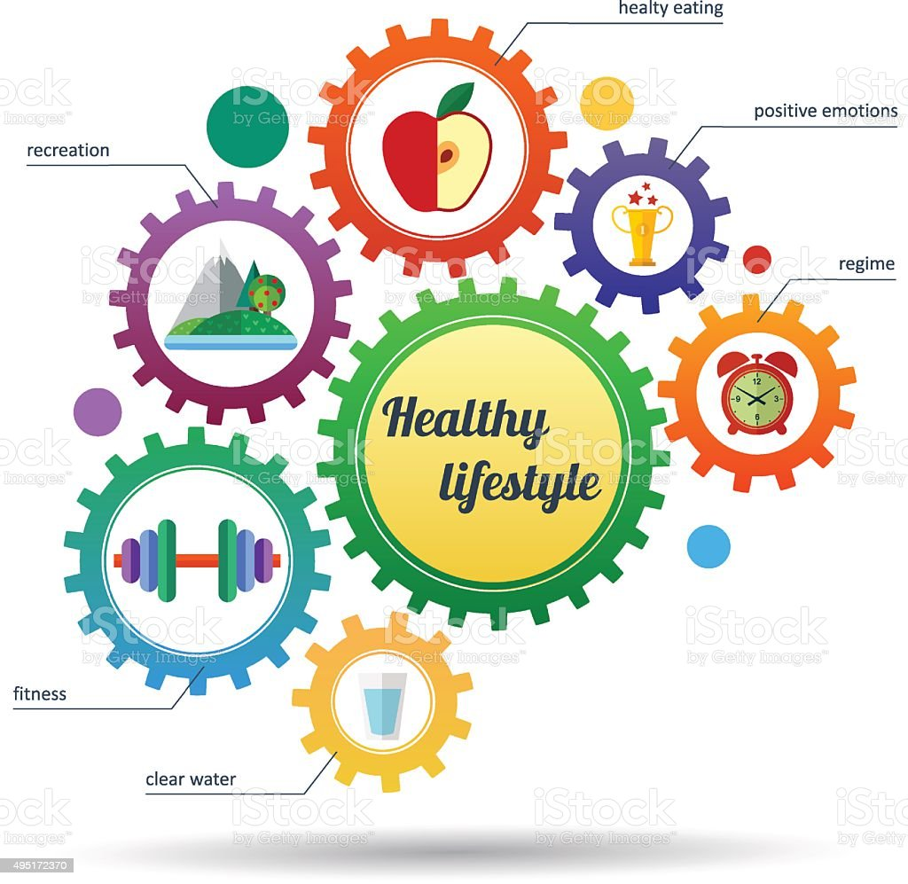 Modern set of infographic and icons healthy lifestyle vector art illustration