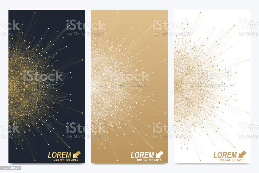 Modern set of vector flyers. Golden cybernetic dots. Lines plexus vector art illustration