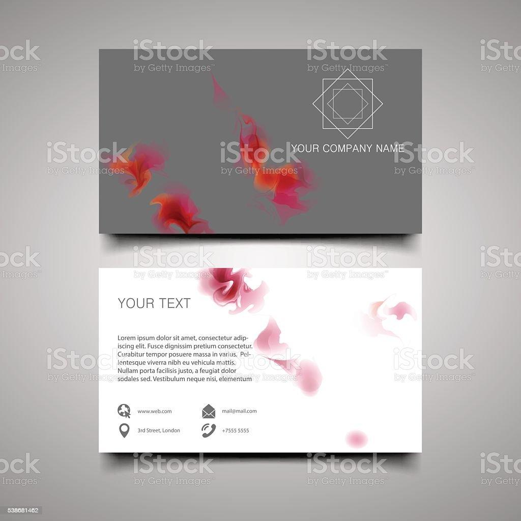 Modern simple light business card template. vector art illustration