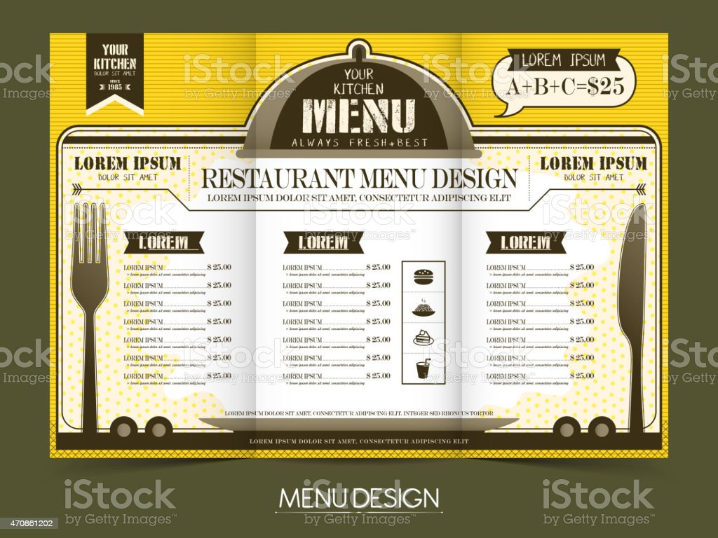 modern simplicity restaurant menu design vector art illustration