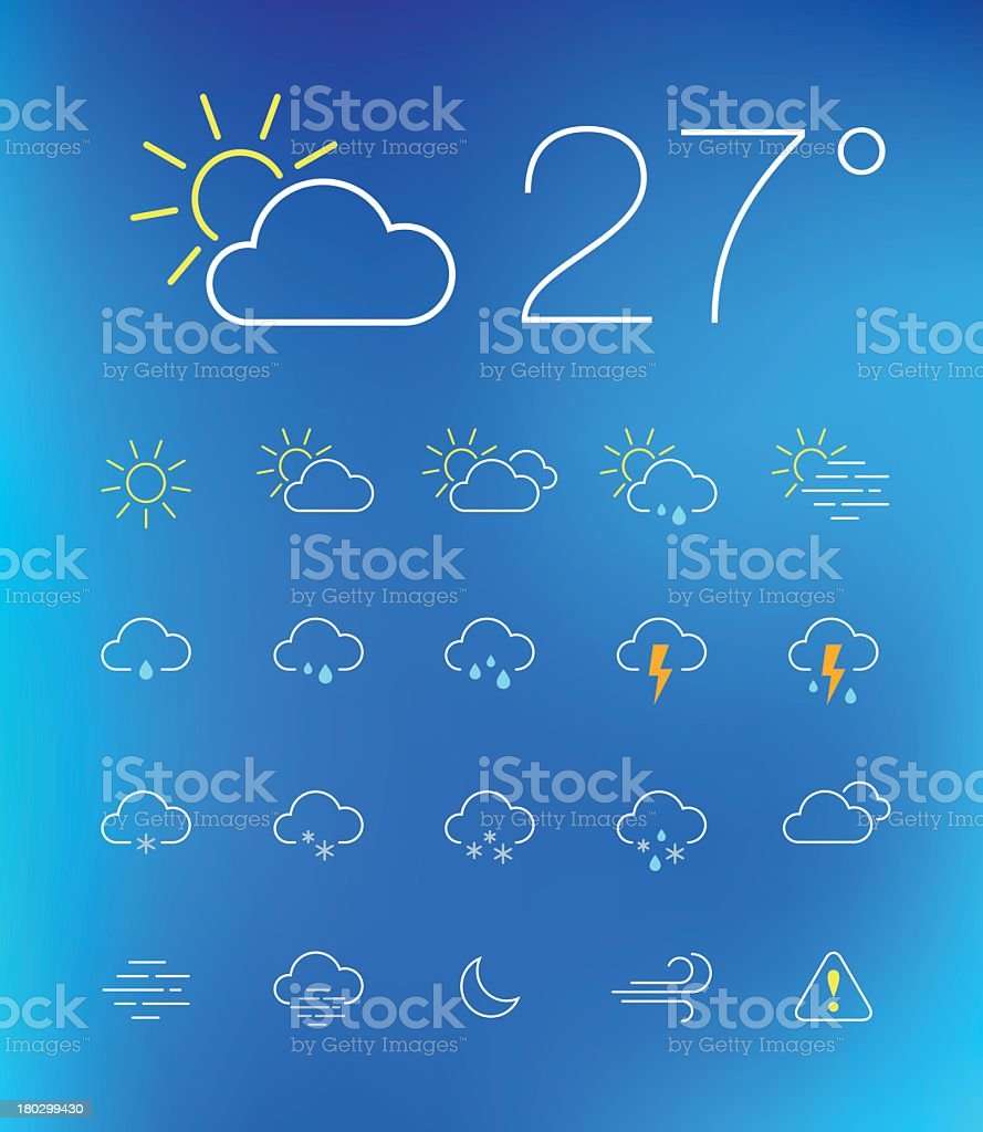 Modern, simplistic, weather icons on a blue background vector art illustration