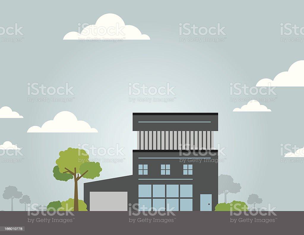 Modern Single Home vector art illustration
