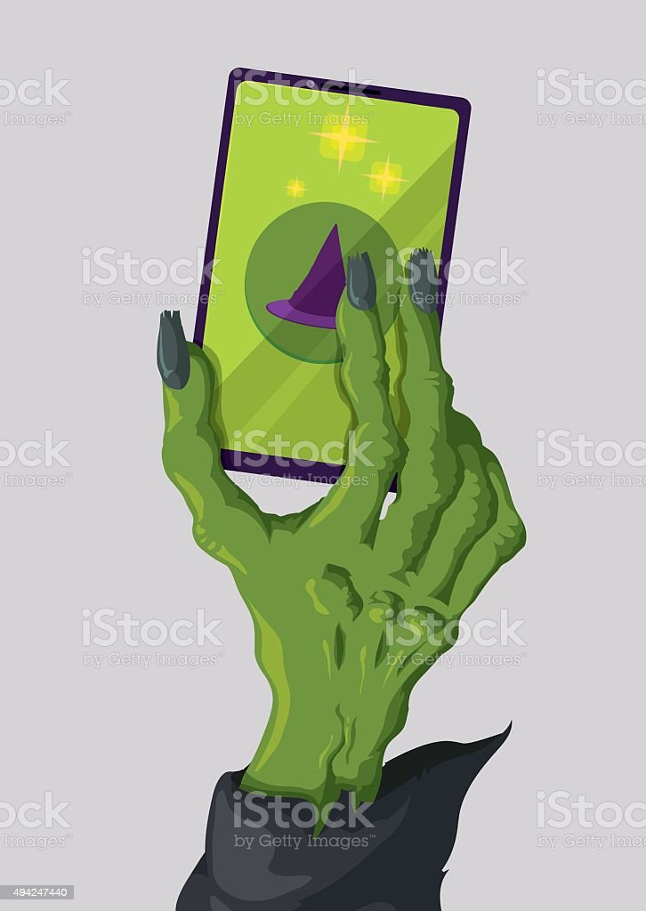 Modern Skinny Witch Hand with a fashion smartphone. vector art illustration
