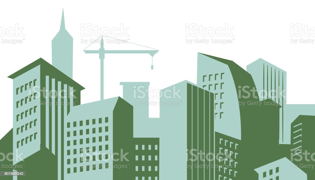 Modern skyscrapers in business district vector vector art illustration