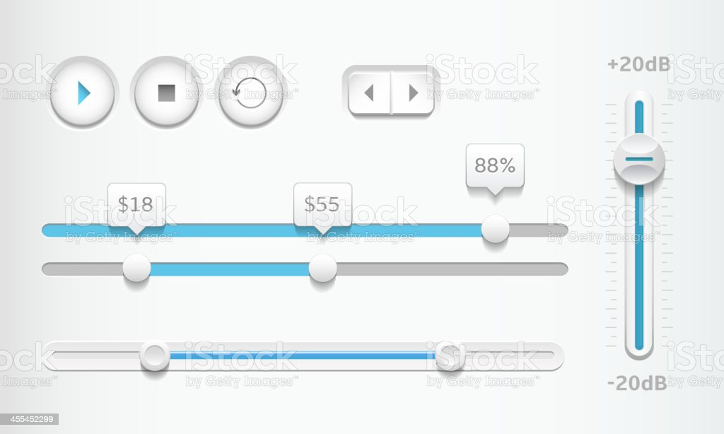Modern sliders and playback buttons vector art illustration