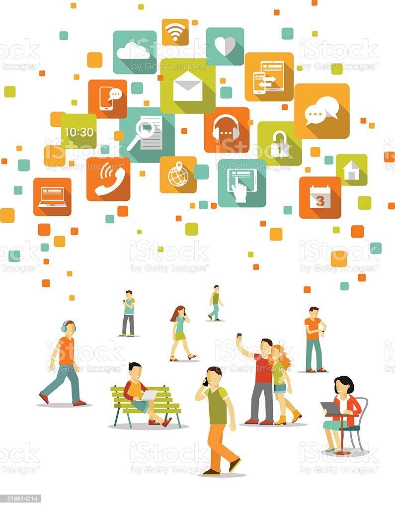 Modern social communication technology concept vector art illustration
