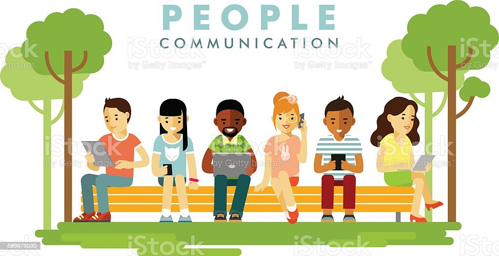 Modern society. People communication concept in flat style vector art illustration