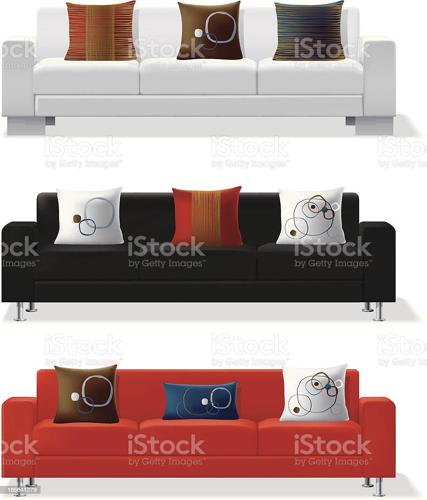 Modern sofa and throw pillows royalty-free stock vector art