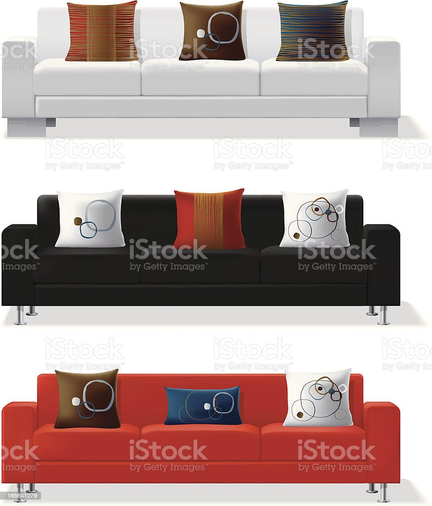 Modern sofa and throw pillows vector art illustration