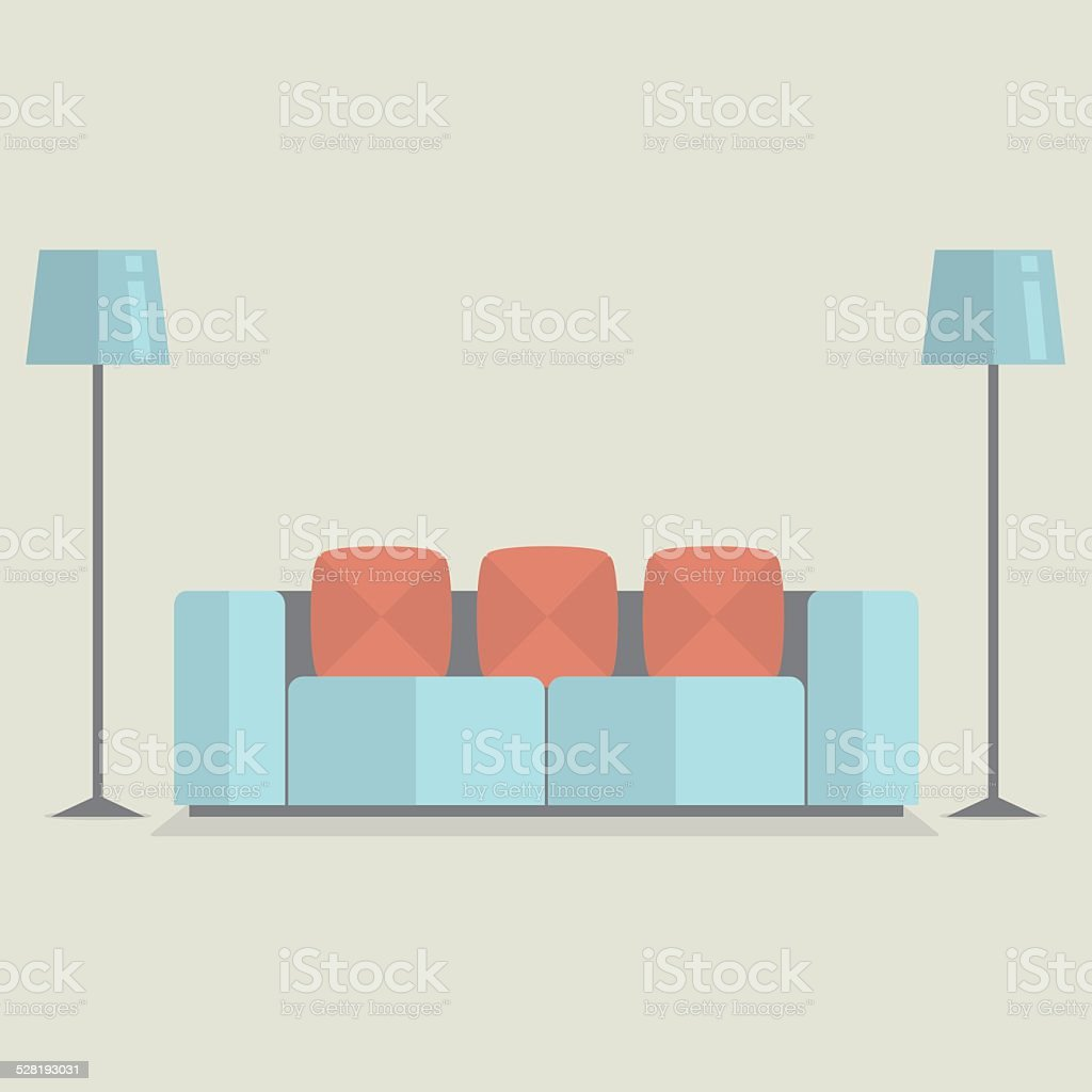 Modern Sofa Vintage Style vector art illustration