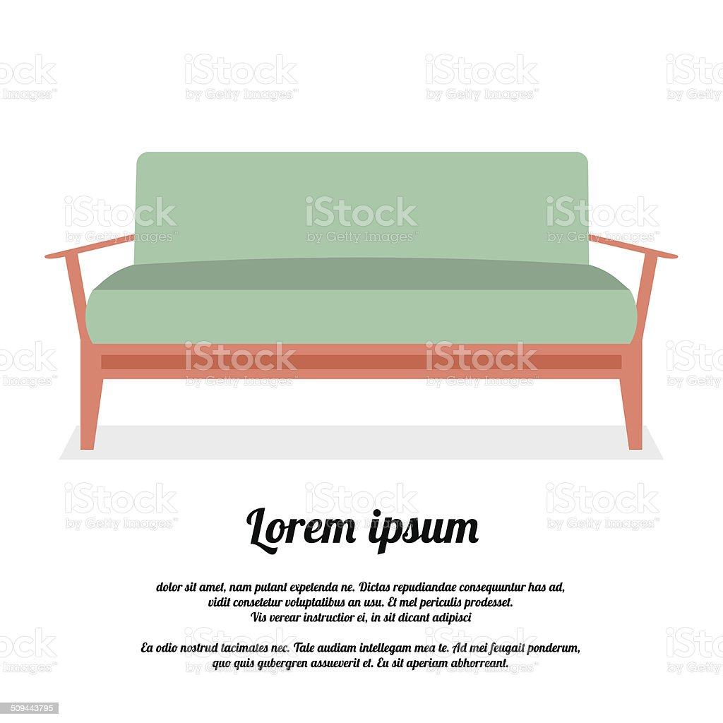 Modern Sofa Vintage Style Vector Illustration vector art illustration