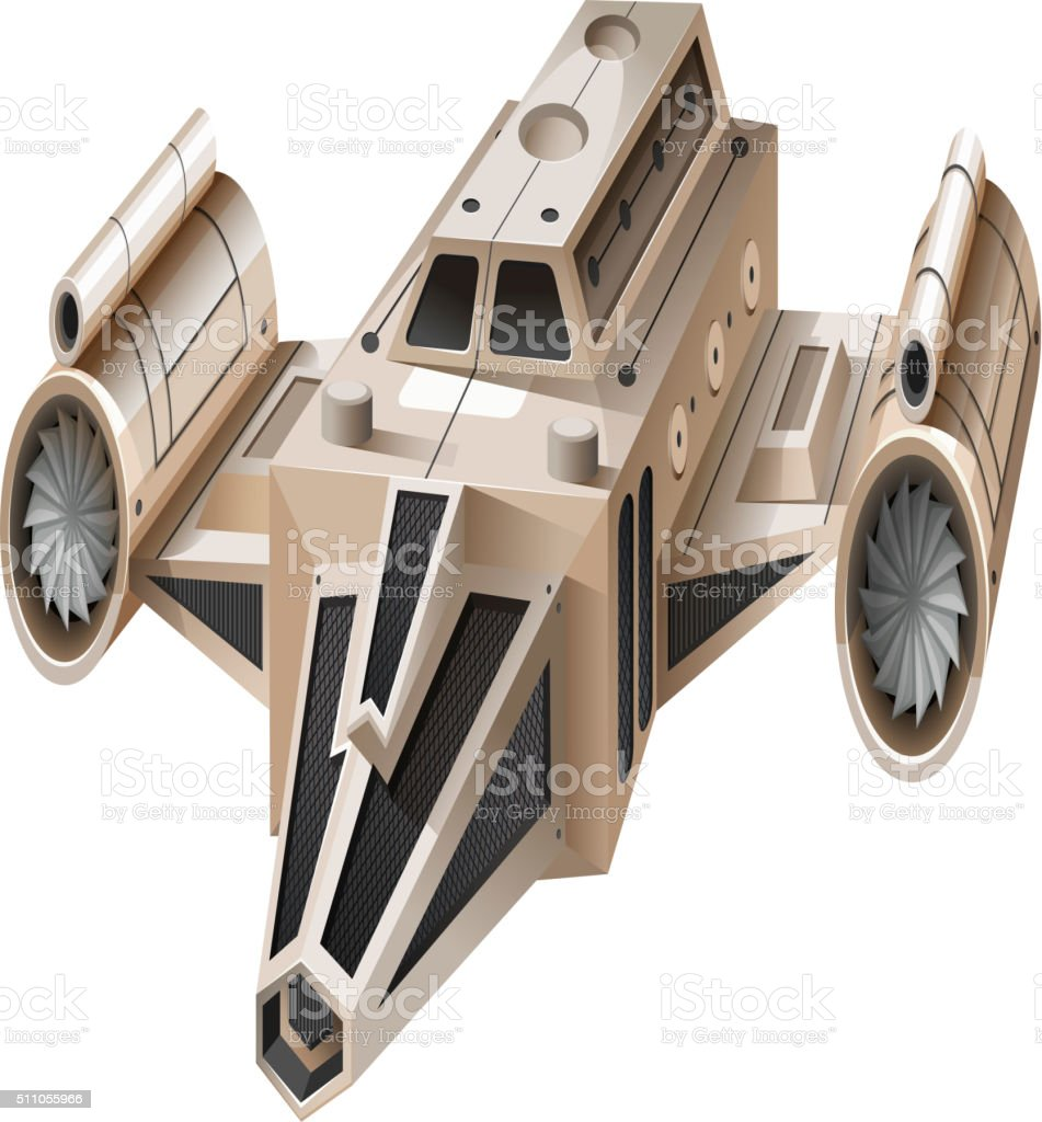 Modern spaceship flying on white background vector art illustration