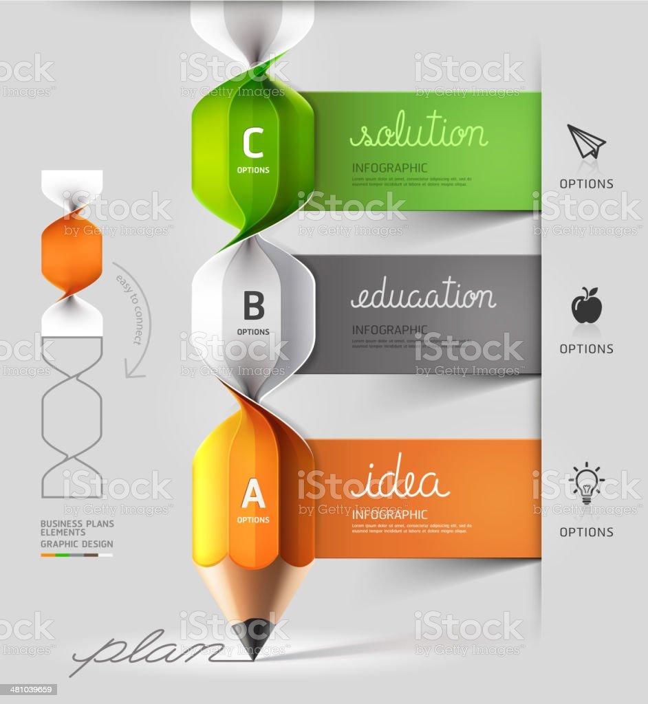 Modern spiral pencil staircase Infographics option. vector art illustration