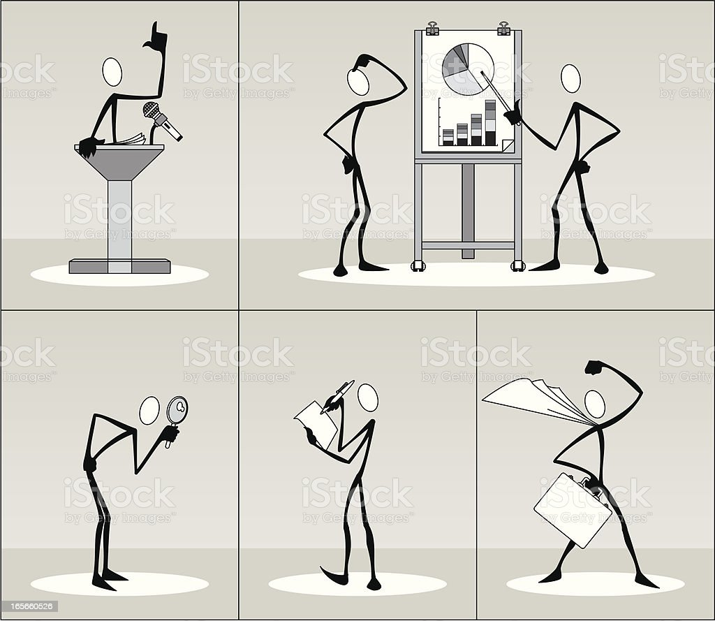 Modern Stick Figures in Business Series 2 royalty-free stock vector art