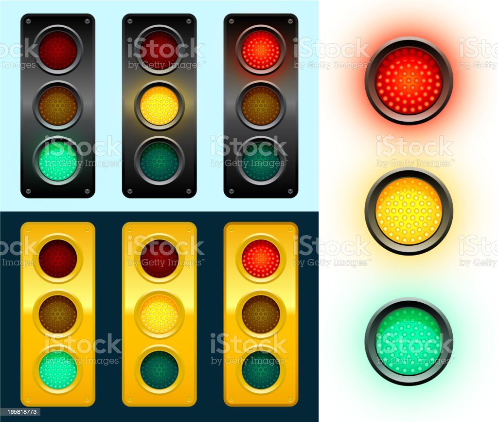 LED Modern Street Traffic Lights Background vector art illustration