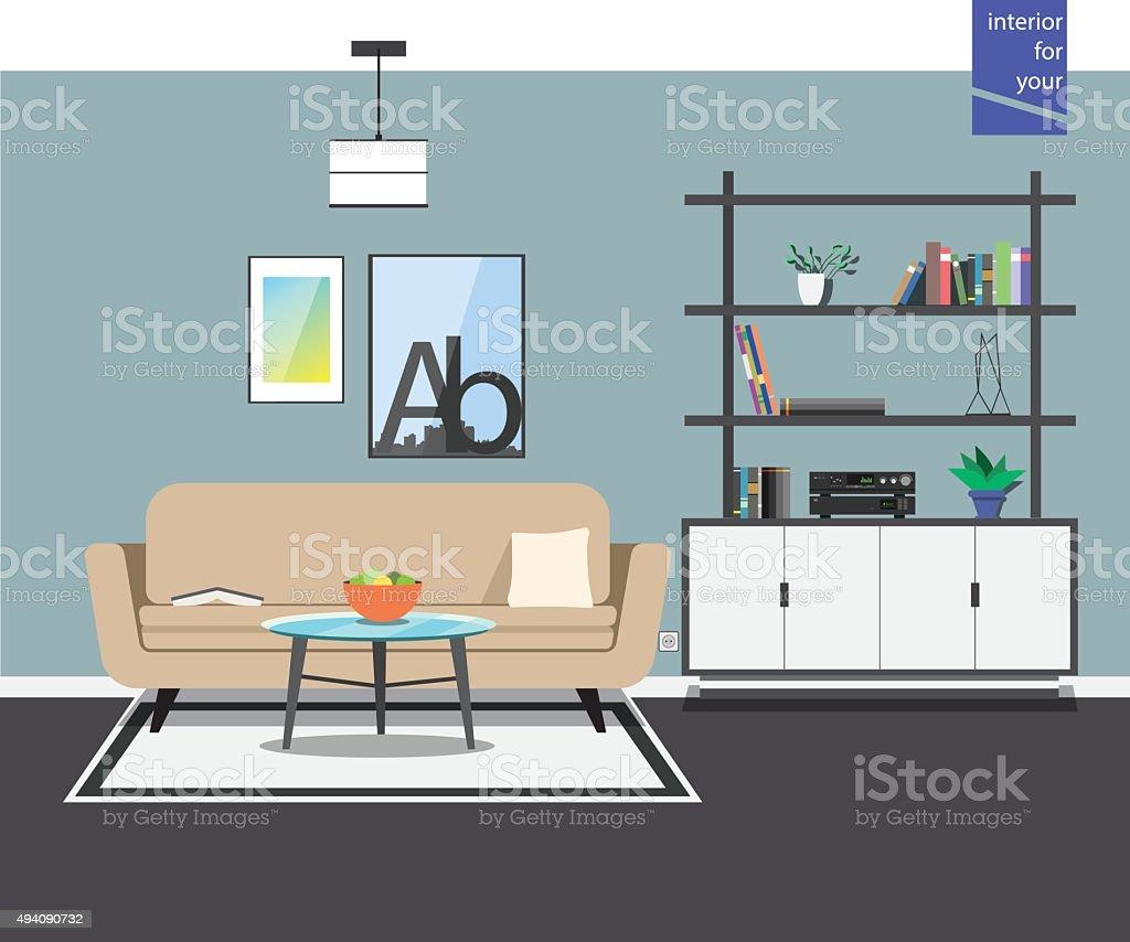 modern style living room vector art illustration