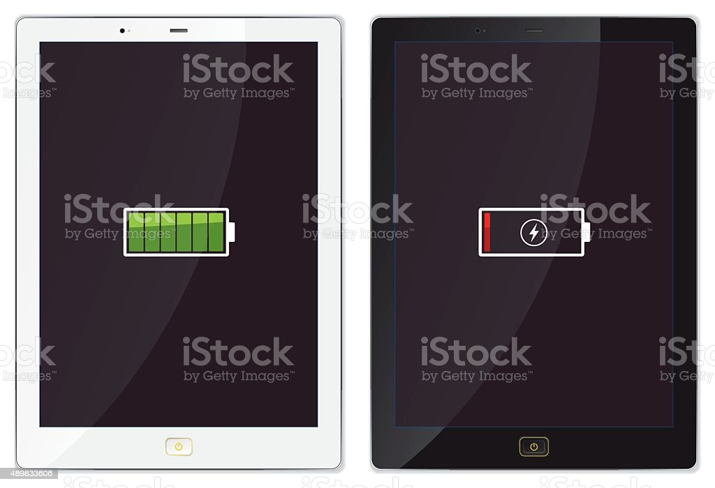 Modern Tablet Charging Screen - Illustration vector art illustration