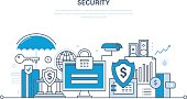 Modern technologies, security and data protection, payment  guarantee, finance.