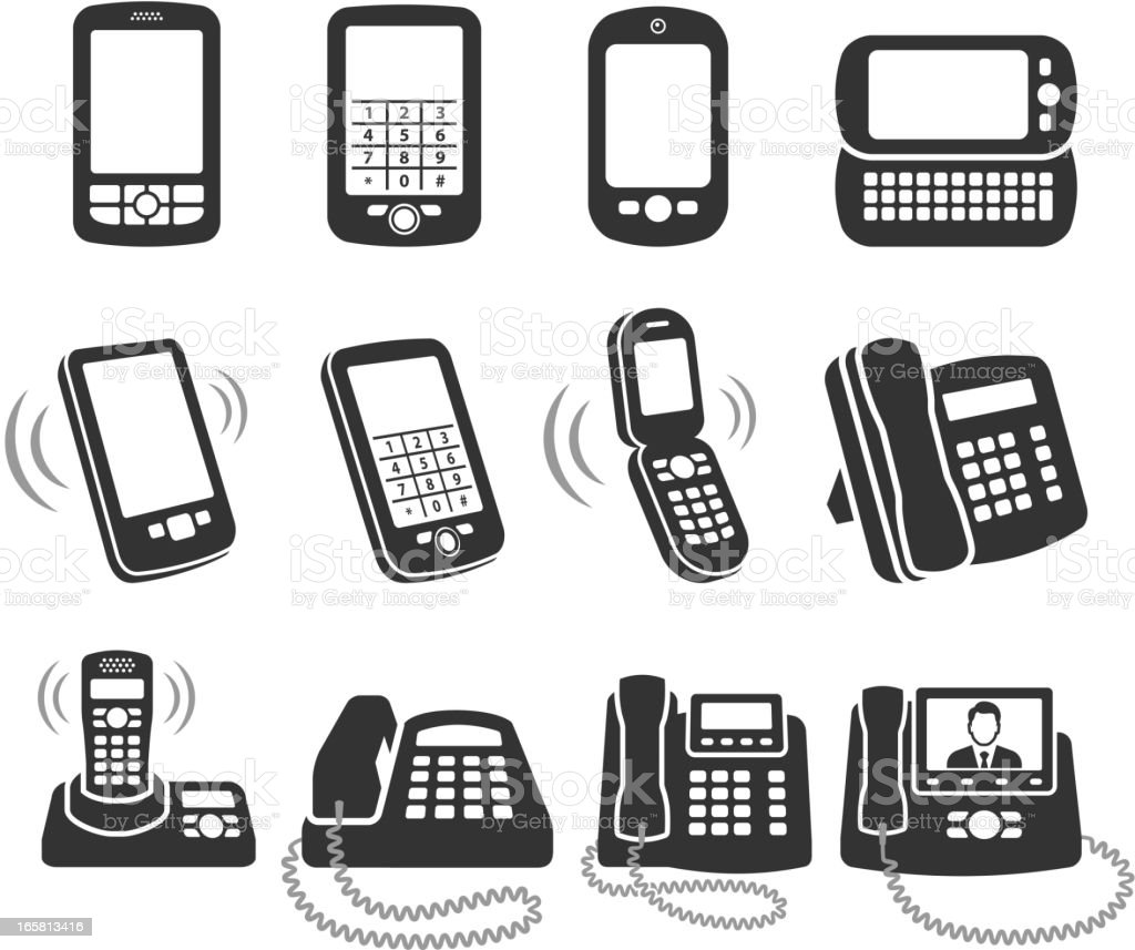 Modern telephone black and white royalty free vector icon set vector art illustration