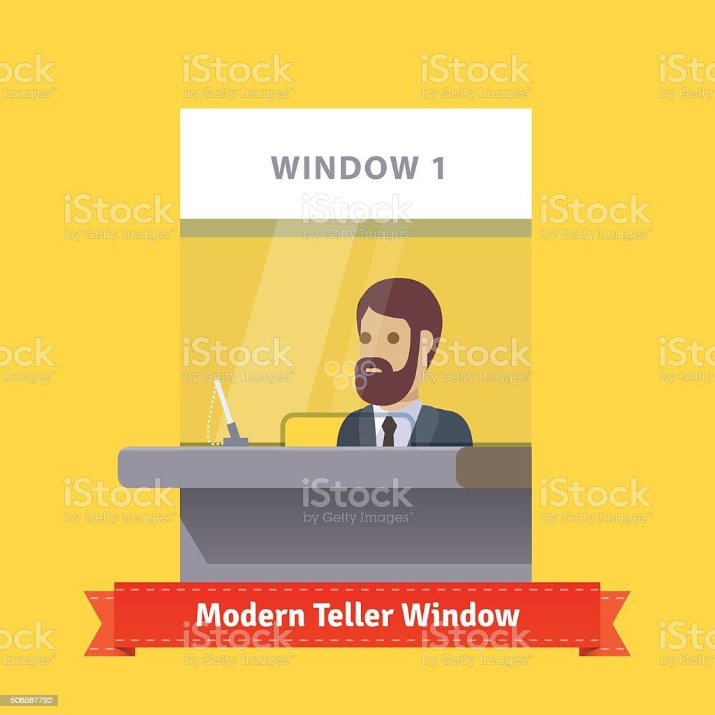 Modern teller window with a working cashier vector art illustration