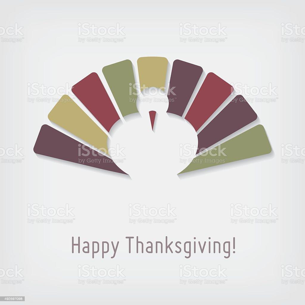 Modern Thanksgiving greeting card with turkey vector art illustration