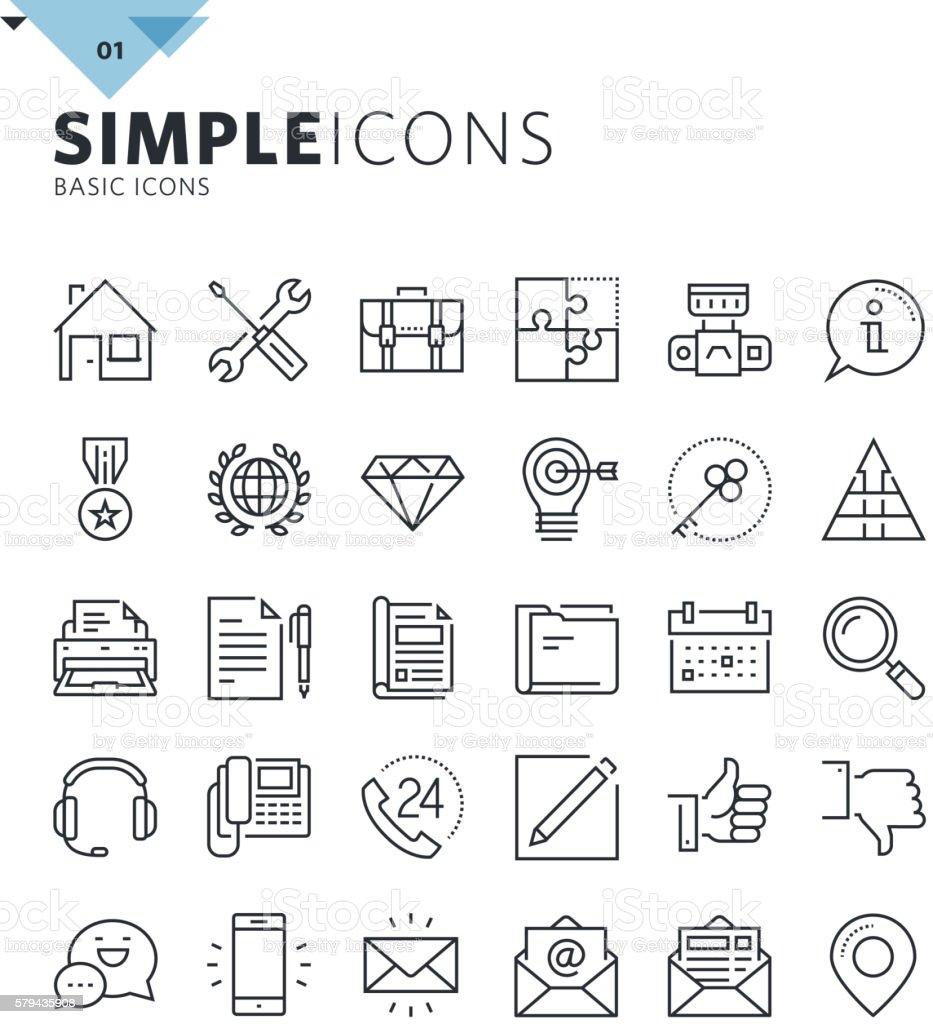 Modern thin line basic web icons vector art illustration