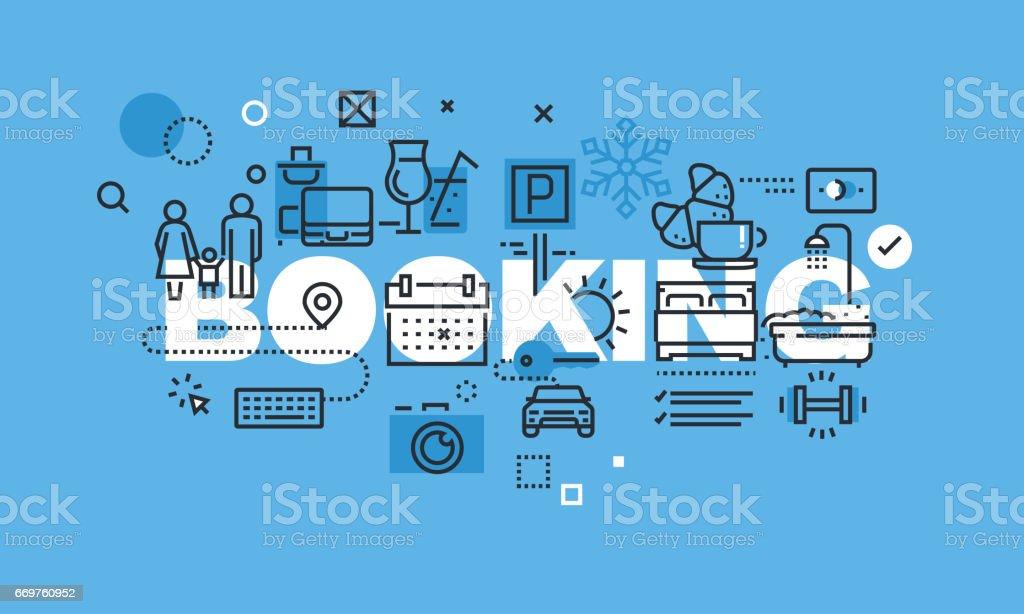 Modern thin line design concept for BOOKING website banner vector art illustration