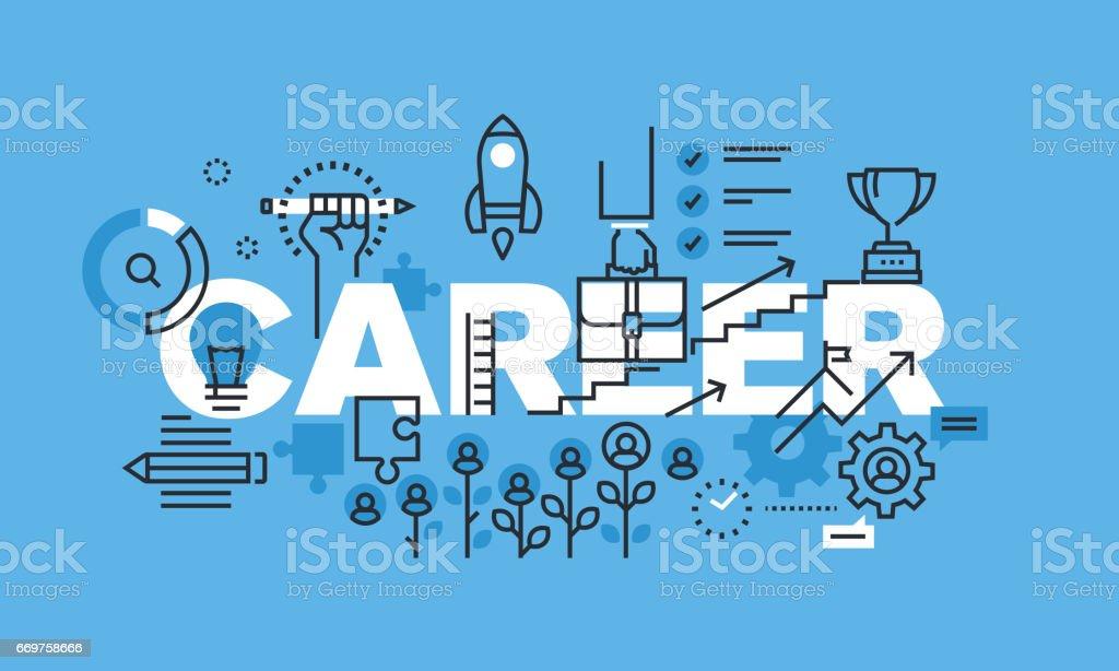 Modern thin line design concept for CAREER website banner vector art illustration