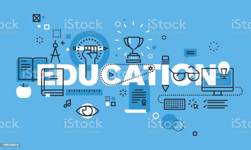 Modern thin line design concept for EDUCATION website banner vector art illustration