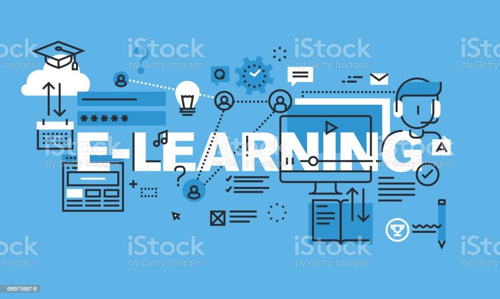 Modern thin line design concept for E-LEARNING website banner vector art illustration