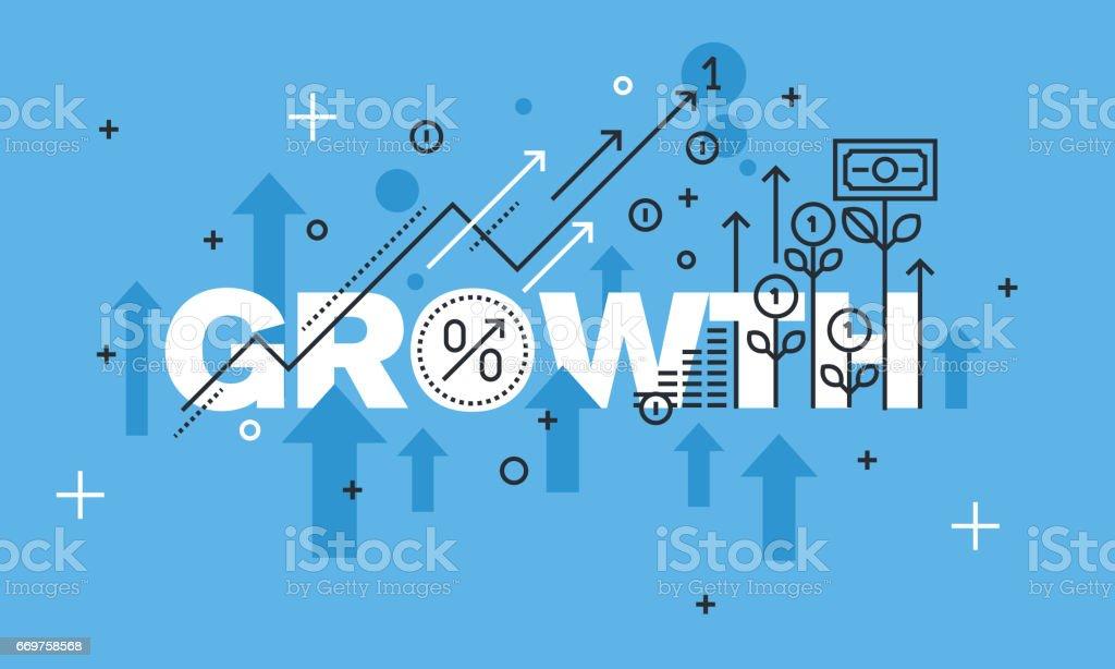 Modern thin line design concept for GROWTH website banner vector art illustration
